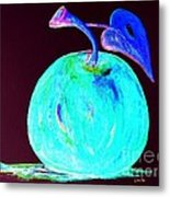Abstract Blue And Teal Apple On Black Metal Print
