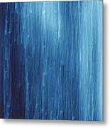 Abstract Blue Rain Metal Print