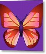 Butterfly Graphic Orange Pink Purple Metal Print