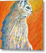 Jazzy Abstract Cat Metal Print