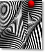 Abstract - Catch The Red Ball Metal Print by Mike Savad