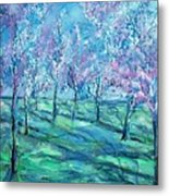 Abstract Cherry Trees Metal Print