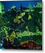 Abstract Colorful Light Projection On Trees Metal Print