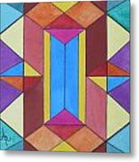 Abstract Colorful Stained Glass Window Design  Metal Print