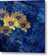 Abstract Daisies On Blue Metal Print by Ann Powell