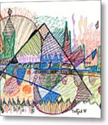 Abstract Drawing One Metal Print