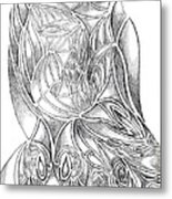Abstract Drawing Owl Hands Roses Metal Print