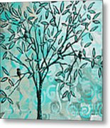 Abstract Floral Birds Landscape Painting Bird Haven II By Megan Duncanson Metal Print
