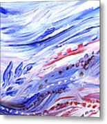 Abstract Floral Marble Waves Metal Print