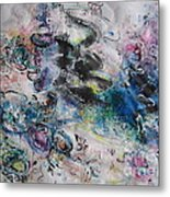 Abstract Flower Field Painting Blue Pink Green Purple Black Landscape Painting Modern Acrylic Pastel Metal Print