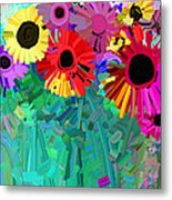 abstract - flowers- Flower Power Four Metal Print