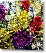Abstract Flowers Messy Painting Metal Print