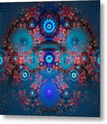 Abstract Fractal Art Blue And Red Metal Print
