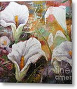 Abstract Fractured Calla Lilies Metal Print