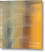 Abstract Golden Yellow Gray Contemporary Trendy Painting Fluid Gold Abstract I By Madart Studios Metal Print