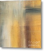 Abstract Golden Yellow Gray Contemporary Trendy Painting Fluid Gold Abstract II By Madart Studios Metal Print