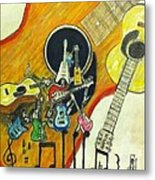 Abstract Guitars Metal Print by Larry Lamb