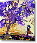 Abstract Jacaranda Tree Lovers Metal Print by Ginette Callaway
