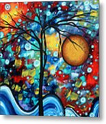 Abstract Landscap Art Original Circle Of Life Painting Sweet Serenity By Madart Metal Print