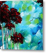 Abstract Landscape Art Original Tree And Moon Painting Blue Moon By Madart Metal Print
