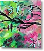 Abstract Landscape Bird And Blossoms Original Painting Birds Delight By Madart Metal Print by Megan Duncanson