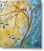 Abstract Landscape Bird Painting Original Art Blue Steel 2 By Megan Duncanson Metal Print