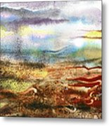 Abstract Landscape Morning Mist Metal Print