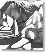 Abstract Landscape Rock Art Black And White By Romi Metal Print