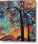 Abstract Landscape Tree Art Colorful Gold Textured Original Painting Colorful Inspiration By Madart Metal Print