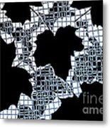 Abstract Leaf Pattern - Black White Light Blue Metal Print
