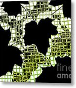Abstract Leaf Pattern - Black White Lime Green Metal Print