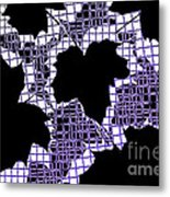 Abstract Leaf Pattern - Black White Purple Metal Print