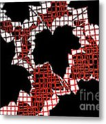 Abstract Leaf Pattern - Black White Red Metal Print
