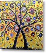 Abstract Modern Flowers Garden Art ... Flowering Tree Metal Print