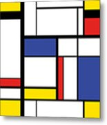 Abstract Modern Painting In Mondrian Metal Print