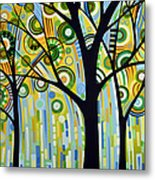 Abstract Modern Tree Landscape Spring Rain By Amy Giacomelli Metal Print