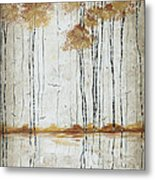 Abstract Neutral Landscape Pond Reflection Painting Mystified Dreams I By Megan Ducanson Metal Print