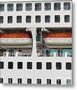 Abstract Of Lifeboats On A Large Cruise Ship Metal Print
