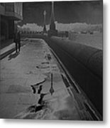 Abstract Of Thames Embankment  As Solarised Metal Print