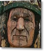 Abstract Of Wooden Indian Head Metal Print