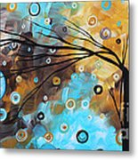 Abstract Painting Chocolate Brown Whimsical Landscape Art Baby Blues By Madart Metal Print