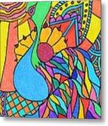 Abstract Peacock Metal Print