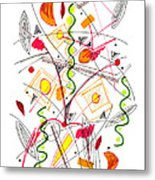 Abstract Pen Drawing Fifty-five Metal Print