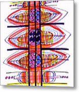 Abstract Pen Drawing Fifty Metal Print
