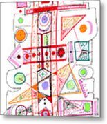 Abstract Pen Drawing Fifty-two Metal Print