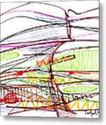 Abstract Pen Drawing Forty-five Metal Print