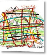 Abstract Pen Drawing Forty-seven Metal Print