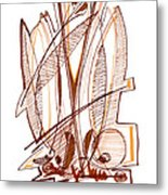 Abstract Pen Drawing Sixty-four Metal Print