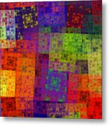 Abstract - Rainbow Bliss - Fractal - Square Metal Print
