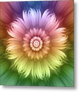 Abstract Rainbow Flower Metal Print